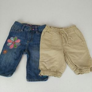 Other - 2 pairs baby gap pants girls 12-18 months